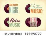 retro music logo set. vintage... | Shutterstock .eps vector #599490770
