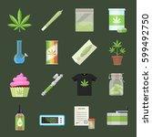 marijuana equipment and... | Shutterstock .eps vector #599492750