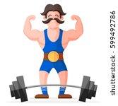 retro style circus strong man... | Shutterstock .eps vector #599492786