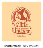 kids shop logo with pink... | Shutterstock .eps vector #599493824