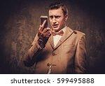 sharp dressed man wearing...   Shutterstock . vector #599495888