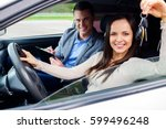 happy driving student with a... | Shutterstock . vector #599496248