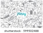 hand drawn fishing shop doodle... | Shutterstock .eps vector #599502488
