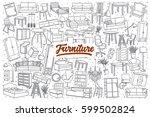 hand drawn furniture doodle set ... | Shutterstock .eps vector #599502824