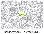 hand drawn baby shop doodle set ... | Shutterstock .eps vector #599502833
