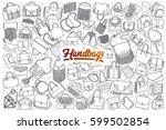 hand drawn handbag doodle set... | Shutterstock .eps vector #599502854