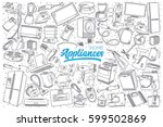 hand drawn home appliances... | Shutterstock .eps vector #599502869
