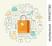 clothes shopping concept... | Shutterstock .eps vector #599507780