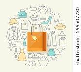 clothes shopping concept... | Shutterstock .eps vector #599507780