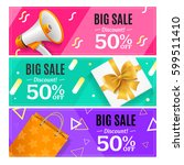 big sale banner card horizontal ... | Shutterstock .eps vector #599511410