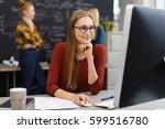 hardworking businesswoman... | Shutterstock . vector #599516780