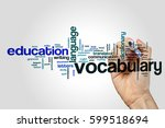 vocabulary word cloud concept | Shutterstock . vector #599518694