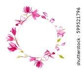 watercolor romantic wreath of... | Shutterstock . vector #599521796