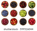 collage of different fruits and ... | Shutterstock . vector #599526044