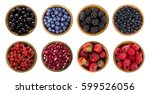 black blue and red berries... | Shutterstock . vector #599526056