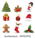 christmas icons. vector | Shutterstock .eps vector #59952952