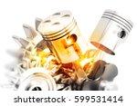 engine pistons on technology... | Shutterstock . vector #599531414
