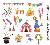 circus icon set with circus