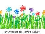wax crayon like kid s hand... | Shutterstock .eps vector #599542694