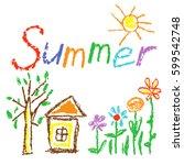 wax crayon like kid s drawn... | Shutterstock .eps vector #599542748