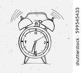 alarm clock doodle illustration | Shutterstock .eps vector #599545433