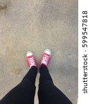 feet from above concept ... | Shutterstock . vector #599547818