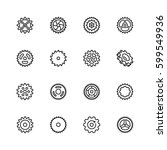 cogs  gears vector icon set in... | Shutterstock .eps vector #599549936