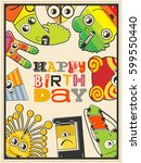 happy birthday gift card with... | Shutterstock .eps vector #599550440