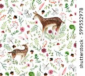 seamless pattern with hand... | Shutterstock . vector #599552978