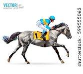 Stock vector jockey on horse champion horse racing hippodrome racetrack jump racetrack horse riding 599555063