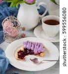 delicious short crust tart with ...   Shutterstock . vector #599556080