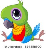 illustration of cute baby parrot | Shutterstock .eps vector #599558900