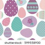 happy easter cute pattern.... | Shutterstock .eps vector #599558930