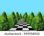 a long and tangled road at the... | Shutterstock .eps vector #599558933