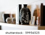 Vase closeup in nicely decorated living room - stock photo