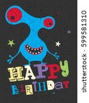 happy birthday gift card with... | Shutterstock .eps vector #599581310