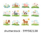 Stock vector cute farm animals set illustration with cartoon animals on green meadow vector illustration 599582138