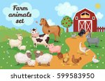farm animals and birds with... | Shutterstock .eps vector #599583950
