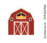 red barn house icon isolated on ... | Shutterstock .eps vector #599583986