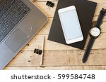 wooden desk with office... | Shutterstock . vector #599584748