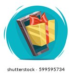 giftbox bow mobile phone win... | Shutterstock .eps vector #599595734