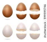 broken eggs cracked open easter ... | Shutterstock .eps vector #599595746