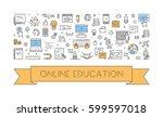 vector line banner for online... | Shutterstock .eps vector #599597018