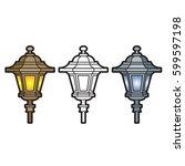 outdoor lamp post in black... | Shutterstock .eps vector #599597198