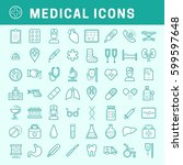 a set of simple line medical... | Shutterstock .eps vector #599597648