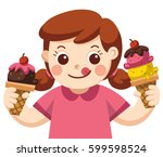 a cute girl eating ice cream. | Shutterstock .eps vector #599598524