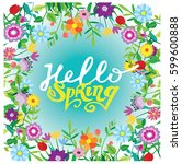 spring template   flower  leaf. ... | Shutterstock .eps vector #599600888