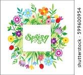 spring template   flower  leaf. ... | Shutterstock .eps vector #599600954