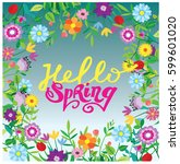 spring template   flower  leaf. ... | Shutterstock .eps vector #599601020