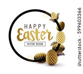 Easter Frame Design With Gold...